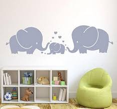 Heart Wall Stickers For Bedrooms D575 Three Cute Elephants Parents And Kid Family Wall Decal With