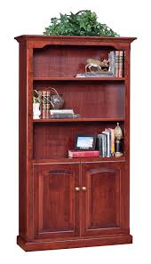 furniture un polish wooden bookcase with doors on brown wooden