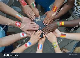 Flag With Bible International Brothers Sisters Christ Different Flags Stock Photo