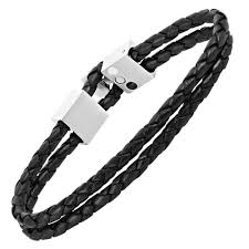 stainless steel black bracelet images Willis judd men 39 s black magnetic leather and stainless steel bracelet jpeg