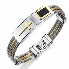 bracelet with cross images Stainless steel cross bracelet homme men jewelry gold color punk jpg