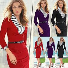spring uk fashion woman office dresses elegant full sleeve formal