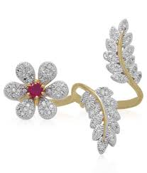 geode delight floral design american diamond double finger ring