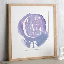 rabbit prints watercolour moon rabbit print by letterfest notonthehighstreet