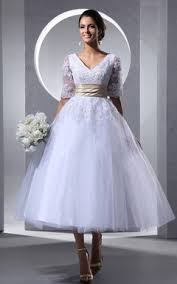 Tea Length Wedding Dress Tea Wedding Gowns Short Midi Length Bridal Dress June Bridals