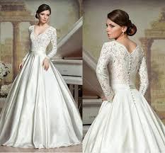 long sleeve a line wedding dresses deep v neck chapel train satin