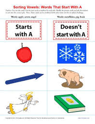 words starting with a beginning vowel worksheets