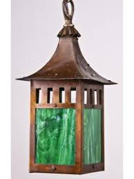 antique pagoda top craftsman style copper porch light w art glass
