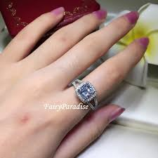 Promise Engagement And Wedding Ring Set by 2 Carat Cushion Cut Halo Engagement Ring Man Made Diamond