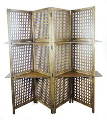 3 way display 4 panel heavy duty indian screen 2 shelves bookcase