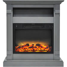 Electric Fireplace With Mantel Sienna 34 In Electric Fireplace W Enhanced Log Display And Gray