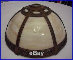 antique 6 panel slag glass lamp shade slag glass lamp