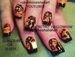 nail art easy halloween nails bats cats design tutorial glow in