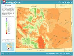map us states colorado precipitation map for colorado classbrain s state reports