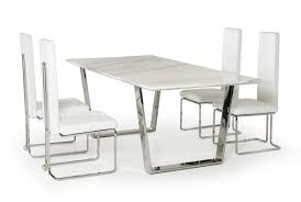 White Leather Dining Chairs Modern Round Marble Dining Table For 4 Dining Chairs Above Gloss