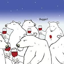 twizler funny card with polar bear and wine blank card happy