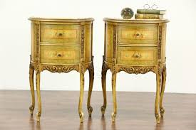 Antique Marble Top Nightstand Sold Pair Of Marble Top 1930 U0027s Vintage Hand Painted End Tables