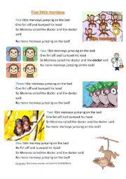 Bed Song English Teaching Worksheets Five Little Monkeys