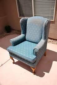 Reupholster Armchair Tutorial Upholstering A Wing Back Chair Upholstery Tips All Things Thrifty