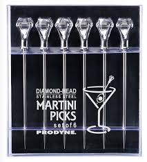 martini diamond amazon com prodyne diamond head martini picks set of 6 kitchen