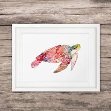 sea turtle watercolor art print home decor marine animals wall art