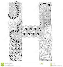 letter h for coloring vector decorative zentangle object stock