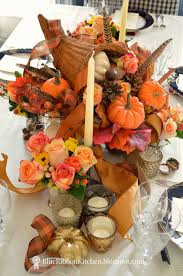 Fall Centerpieces With Feathers by Blue Ribbon Kitchen Thanksgiving Cornucopia Table Idea Oranges