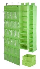 lime green closet organizer set shoe clothes hanging storage