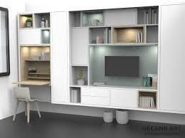 meuble tv avec bureau design meuble bibliotheque et meuble tv pour salon avec niches