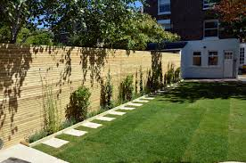 fake grass paving path trellis softwood fencing planting balham
