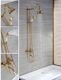 ti pvd finish contemporary wall mount brass gold shower faucets