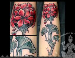 black and red geranium flowers tattoo design for sleeve