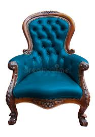 Blue Leather Chair Vintage Blue Leather Armchair With Clipping Path Stock Photo