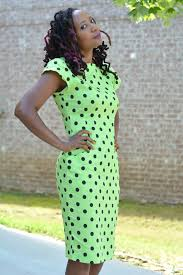 thrift store lady in lime polka dot dress