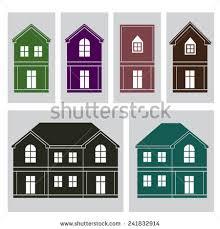 House Flat Design Set Silhouette Houses Flat Design Vector Stock Vector 232730152