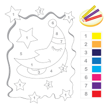 stars and moon color by number printable numbers math and