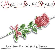 bracelet beading pattern images Bracelet beading pattern rose stem sculpted brick or peyote etsy jpg