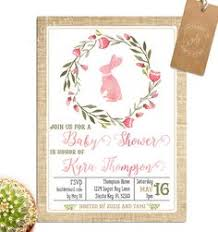 rabbit baby shower bunny baby shower invitation by littlebelledesign on etsy