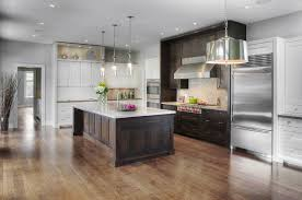 rustic contemporary kitchen white and dark shaker cabinets