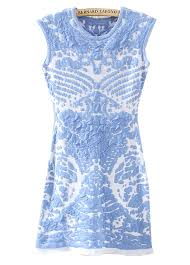 blue sleeveless porcelain pattern knit dress shein sheinside