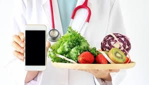 fresh fruit online online diet consultant doctor holding smart phone fresh fruit