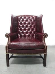 Wingback Accent Chair Furniture Pair Of Vintage Leather Tufted Wingback Chairs For Sale