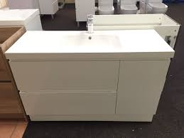 pearl 1200mm white gloss polyurethane double drawer vanity with