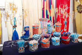 Candy Buffet For Parties by Orange And Blue Surfing Themed Candy Buffet For A Bar Mitzvah