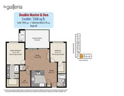 2 bedroom den plans la galleria