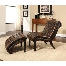 Leather Chaise Lounge Abbyson Encore Brown Tufted Leather Chaise Lounge With Ottoman