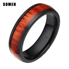 wood rings wedding luxury retro 6mm black titanium mahogany wood ring women