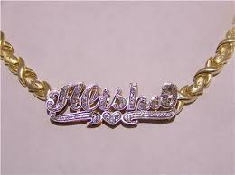 14kt gold name necklace 14k gold overlay name necklace nikfine