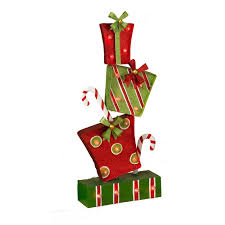 new 25 battery operated led standing metal present or ornament