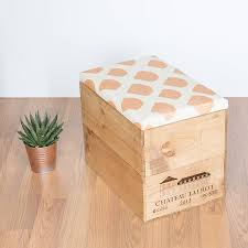 Gold Storage Ottoman by Wine Crate Ottoman With Screen Printed Fabric By Made Anew